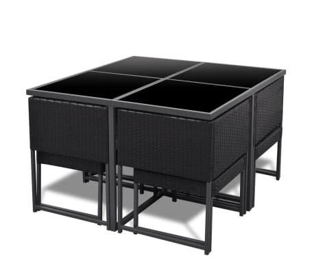 Black Rattan Garden Furniture 8 Seater 8 seat poly rattan wicker dining table chairs stools set furniture