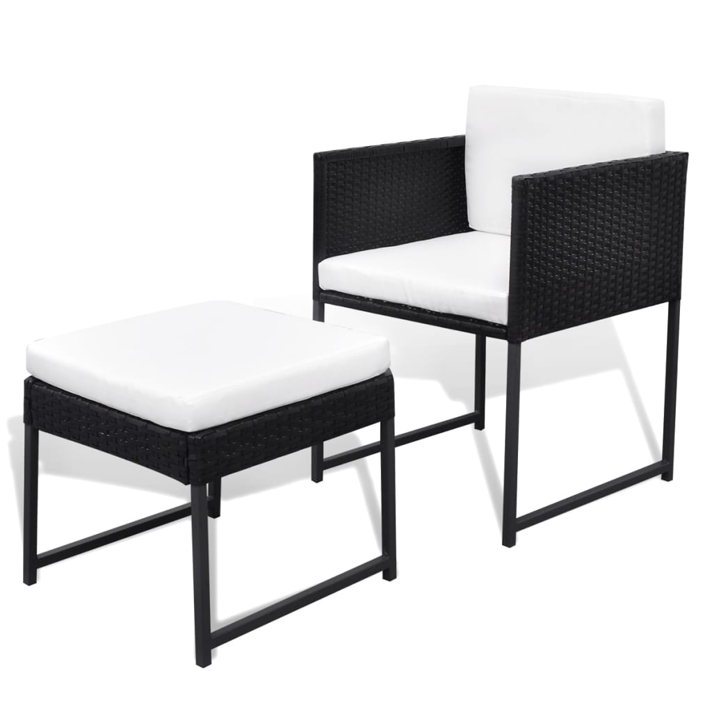 vidaxl outdoor dining set 21 piece black poly rattan. Black Bedroom Furniture Sets. Home Design Ideas