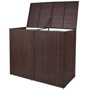 vidaxl m lltonnenbox f r 2 tonnen rattan braun 240 l im. Black Bedroom Furniture Sets. Home Design Ideas