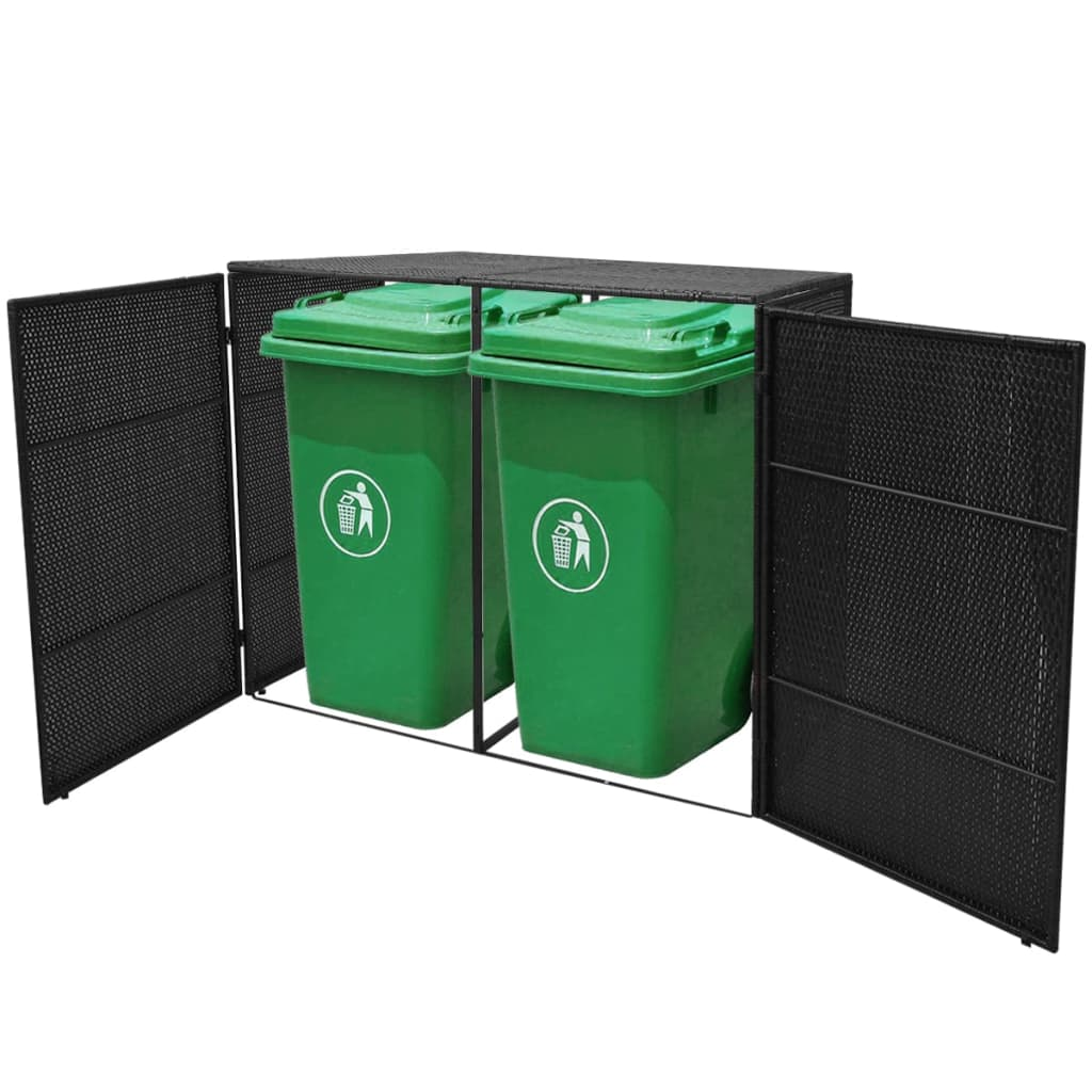 vidaxl m lltonnenbox f r 2 tonnen rattan schwarz 240 l. Black Bedroom Furniture Sets. Home Design Ideas