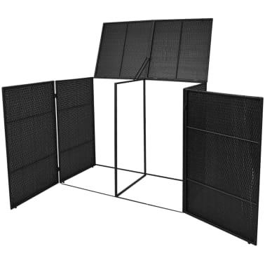 vidaxl m lltonnenbox f r 2 tonnen rattan schwarz 240 l g nstig kaufen. Black Bedroom Furniture Sets. Home Design Ideas