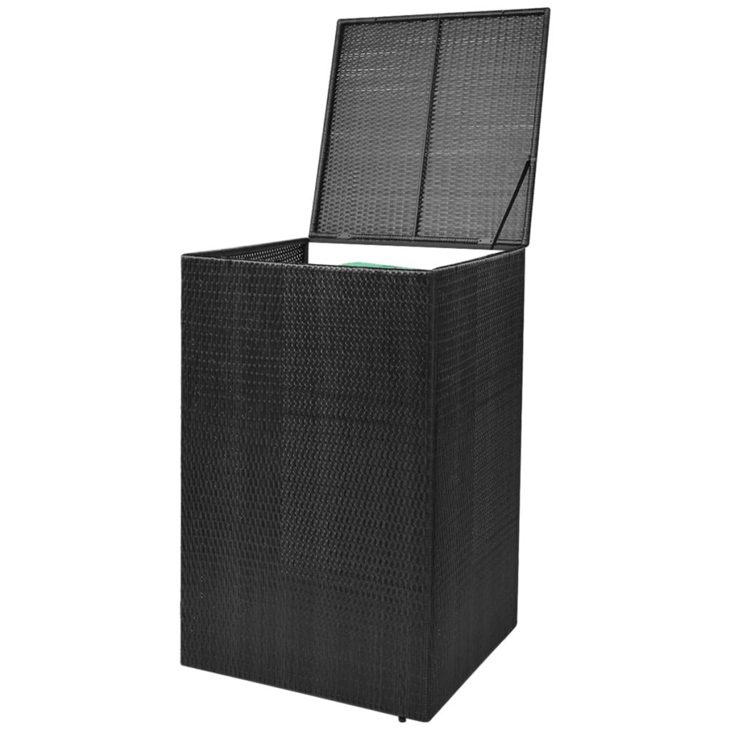 vidaxl m lltonnenbox f r 1 tonne rattan schwarz 240 l zum schn ppchenpreis. Black Bedroom Furniture Sets. Home Design Ideas