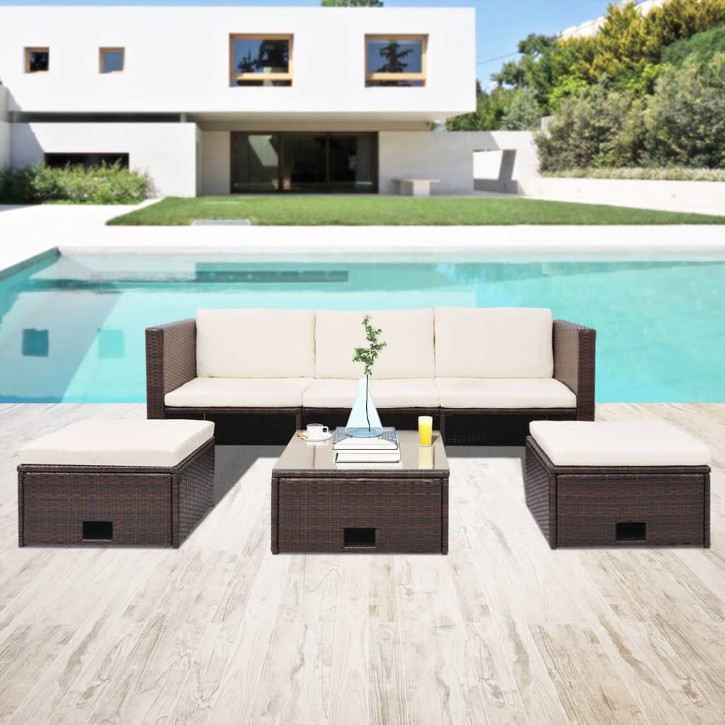 acheter vidaxl mobilier de jardin 12 pi ces rotin poly thyl ne marron pas cher. Black Bedroom Furniture Sets. Home Design Ideas