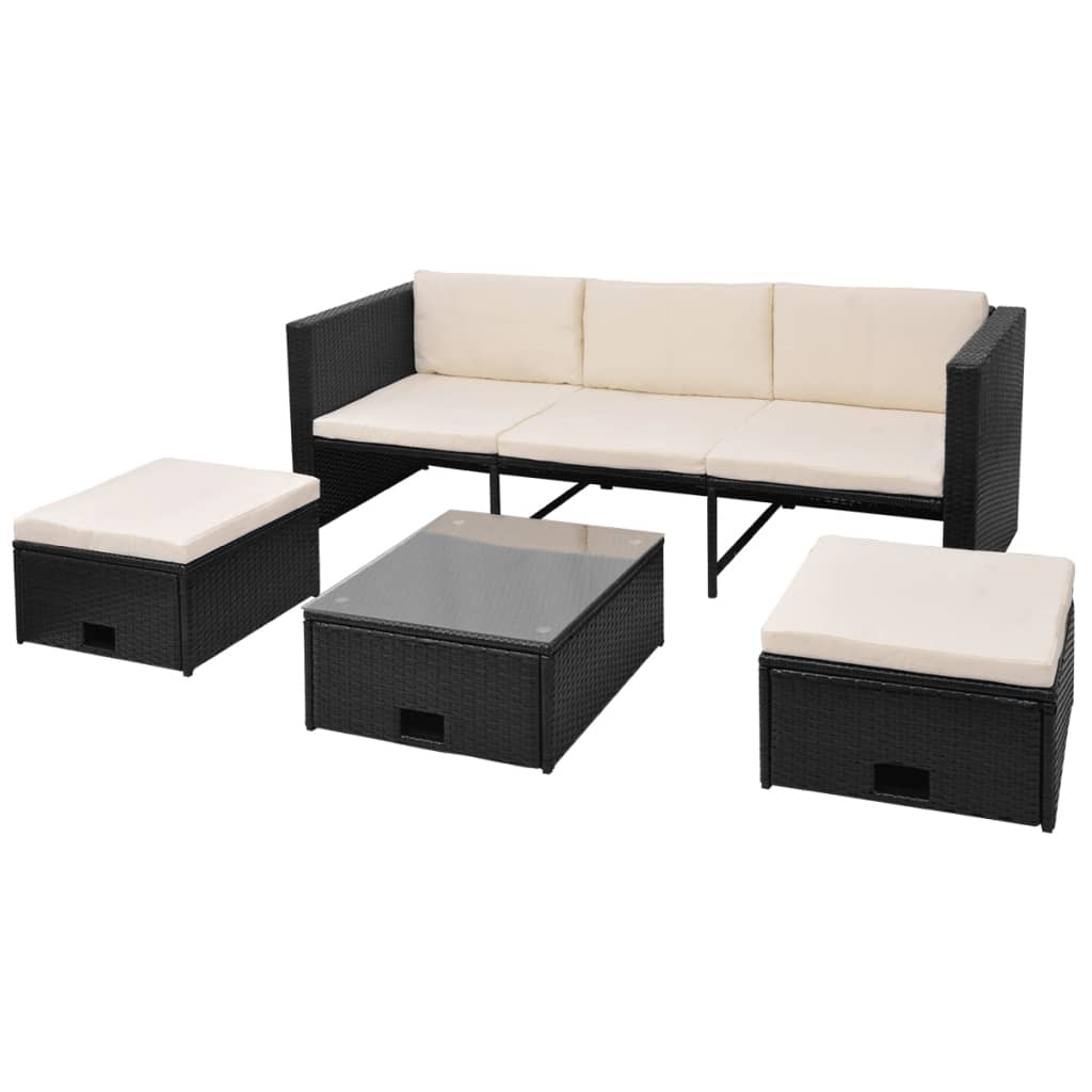 acheter vidaxl mobilier de jardin 12 pi ces rotin poly noir pas cher. Black Bedroom Furniture Sets. Home Design Ideas