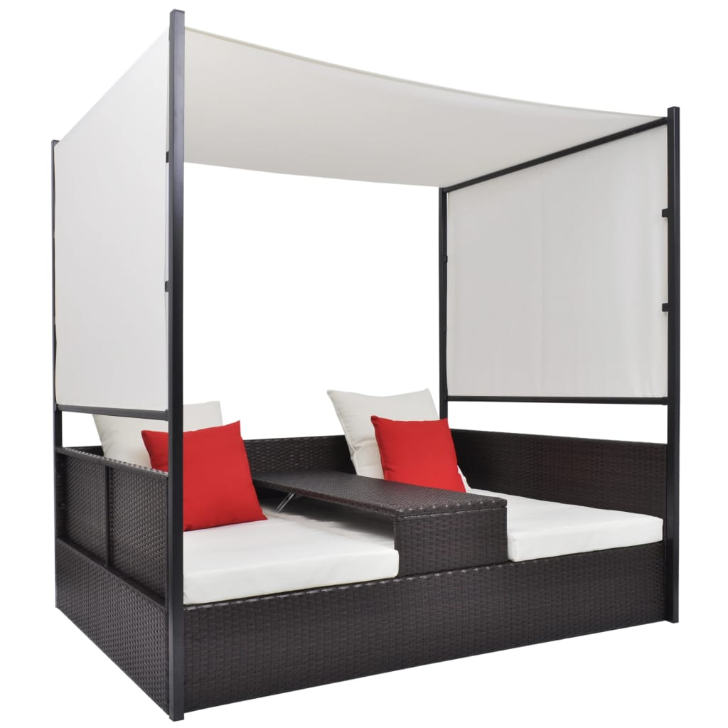 acheter vidaxl lit double de salon avec baldaquin en poly rotin marron pas cher. Black Bedroom Furniture Sets. Home Design Ideas