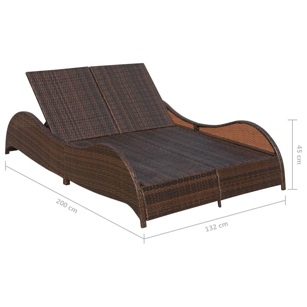 vidaxl doppel sonnenliege poly rattan braun g nstig kaufen. Black Bedroom Furniture Sets. Home Design Ideas