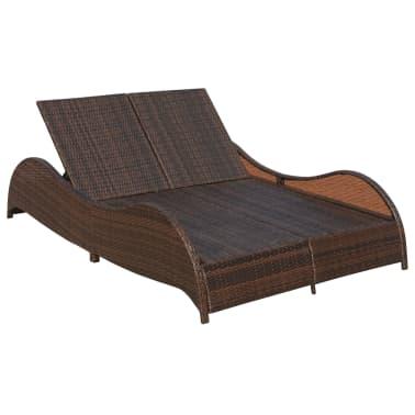vidaxl chaise longue double et coussin ondul e marron r sine tress e. Black Bedroom Furniture Sets. Home Design Ideas