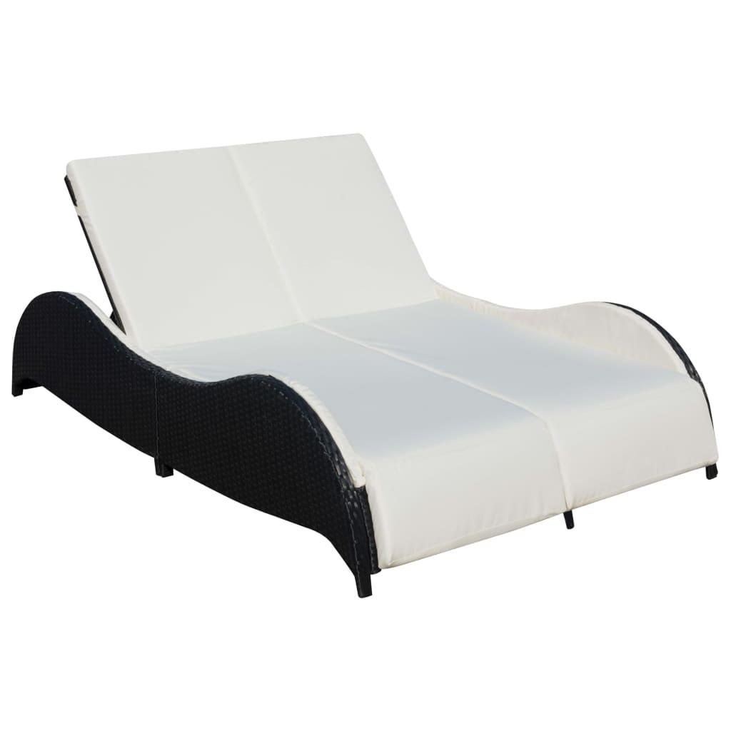 vidaxl doppel sonnenliege poly rattan schwarz g nstig. Black Bedroom Furniture Sets. Home Design Ideas
