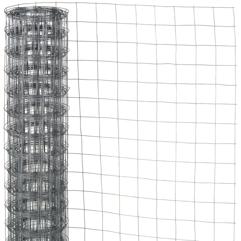 Nature Garden Fence Wire Mesh Square Grey 0.5x2.5 m Outdoor Barrier ...