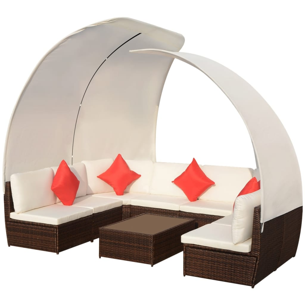 vidaXL Outdoor Lounge Set with Canopies Poly Rattan Brown ...