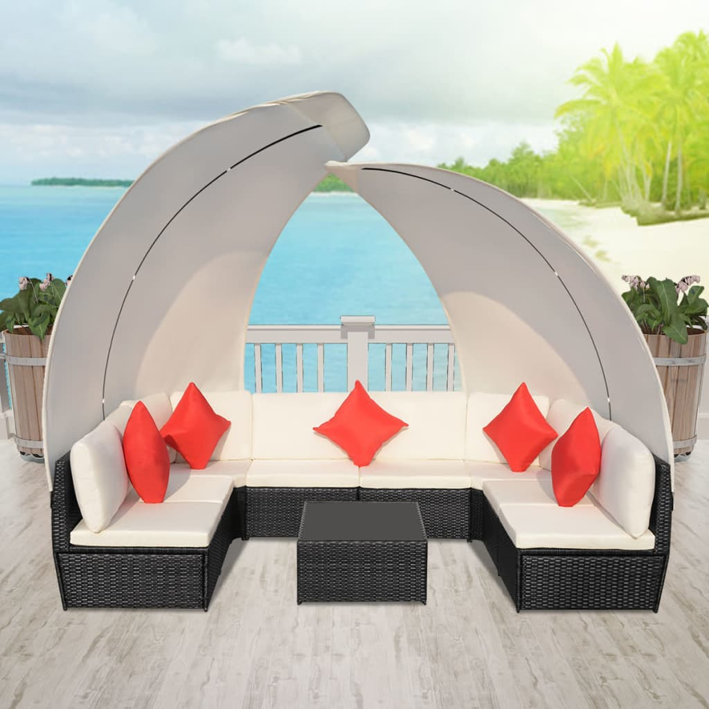 der vidaxl garten lounge set mit baldachin poly rattan schwarz online shop. Black Bedroom Furniture Sets. Home Design Ideas