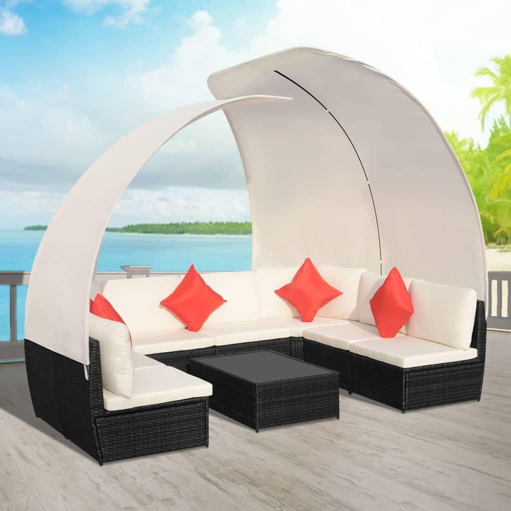 Vidaxl Outdoor Lounge Set With Canopies Poly Rattan Black