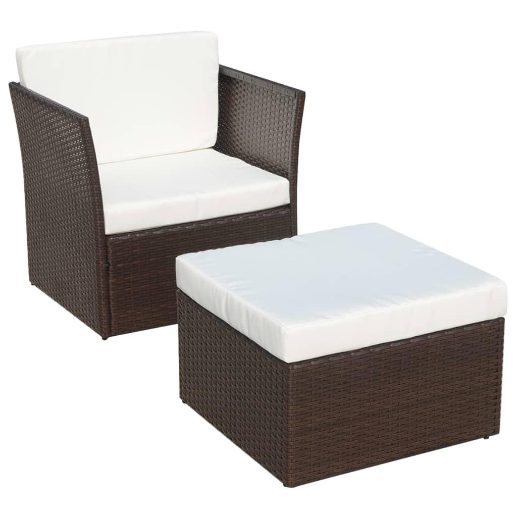 vidaxl five piece garden chair set poly rattan brown. Black Bedroom Furniture Sets. Home Design Ideas