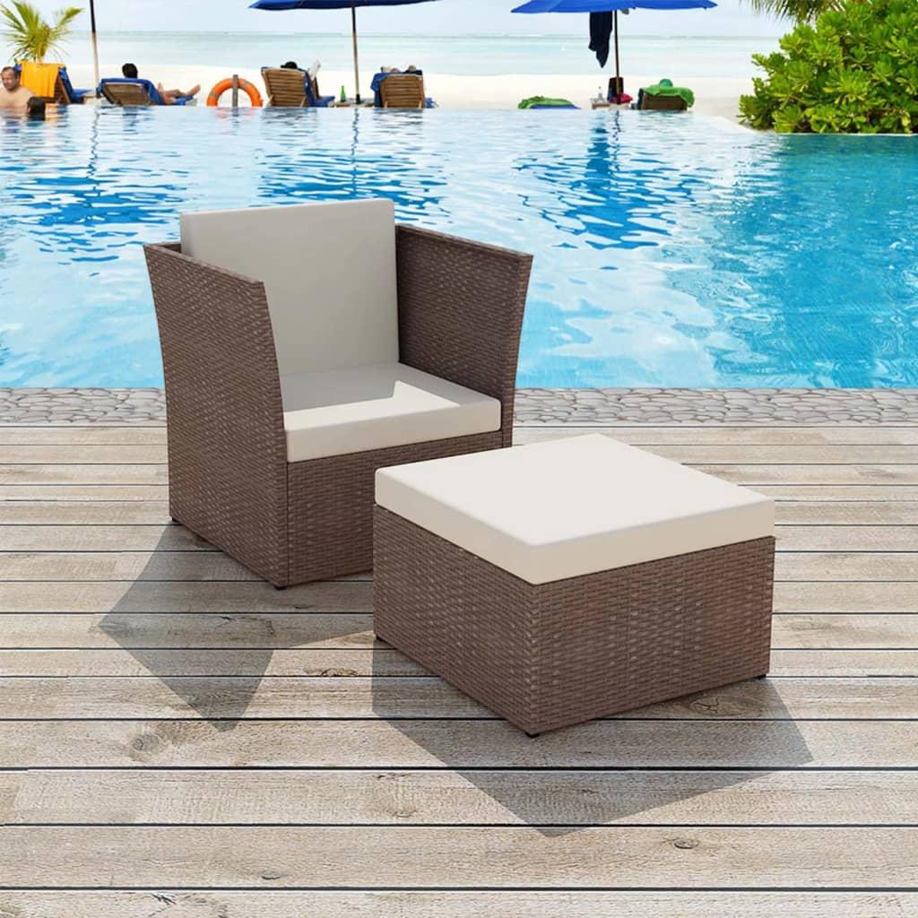 vidaXL ötrészes polyrattan kerti szék szett barna