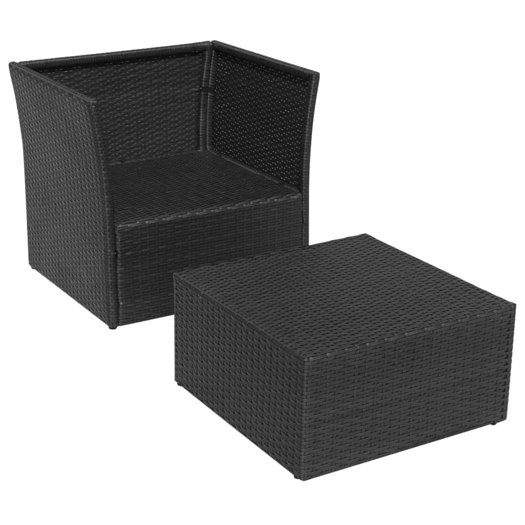 Vidaxl conjunto de sillas de jard n negras 5 piezas de for Conjuntos de jardin de ratan