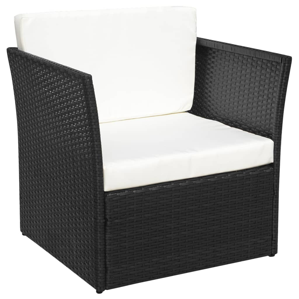 vidaxl five piece garden chair set poly rattan black. Black Bedroom Furniture Sets. Home Design Ideas
