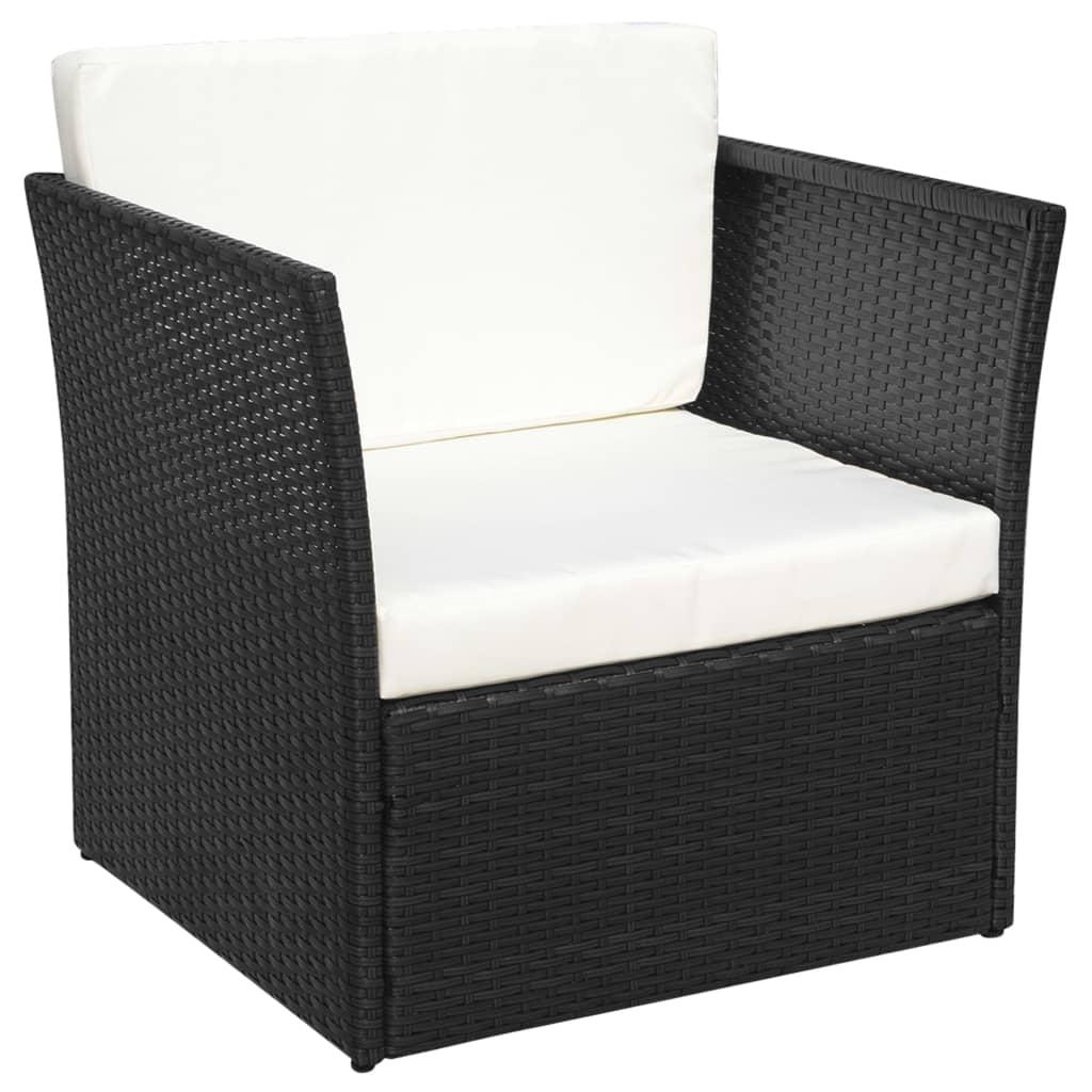 vidaxl five piece garden chair set poly rattan black. Black Bedroom Furniture Sets. Home Design Ideas