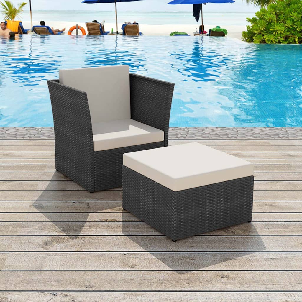 VidaXL 2PC Garden Chair Footstool Set Poly Rattan