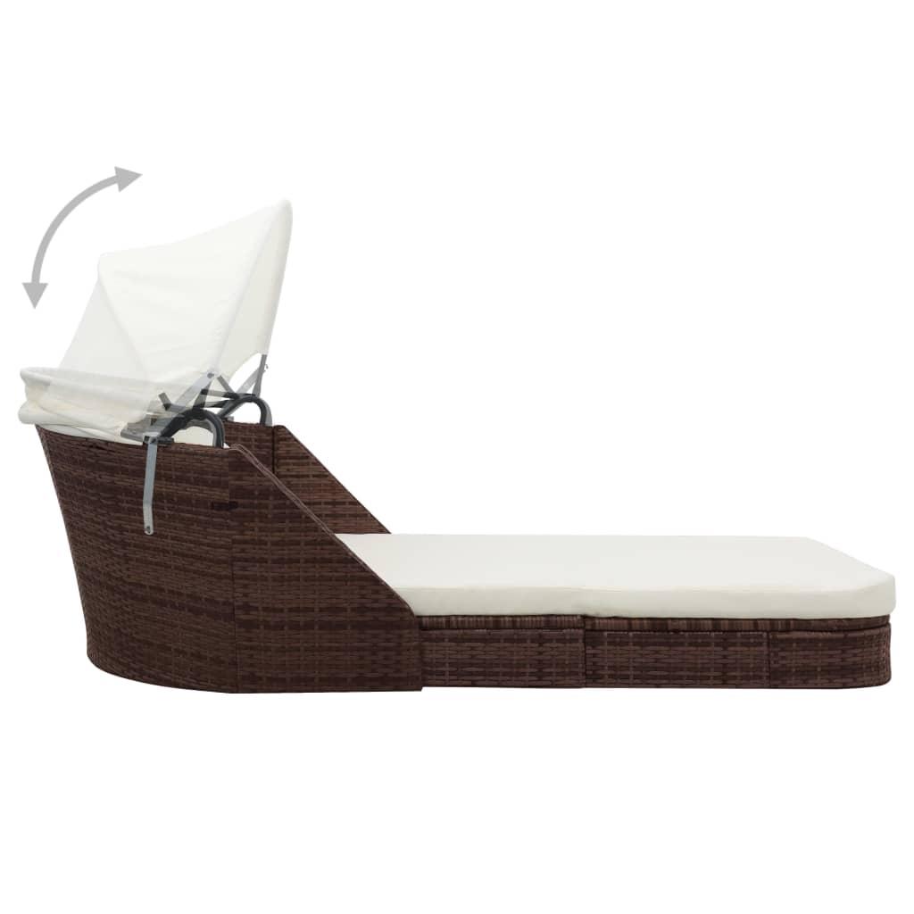 vidaxl sonnenliege mit baldachin poly rattan braun g nstig. Black Bedroom Furniture Sets. Home Design Ideas