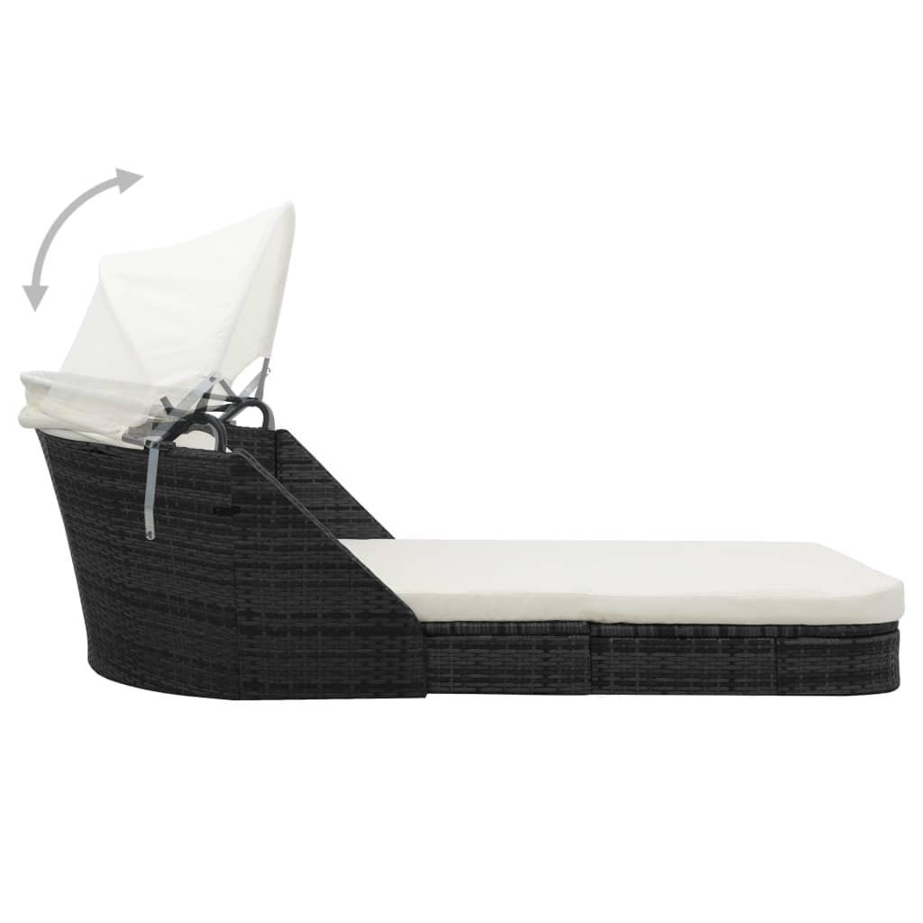 vidaxl sun lounger with canopy poly rattan black. Black Bedroom Furniture Sets. Home Design Ideas