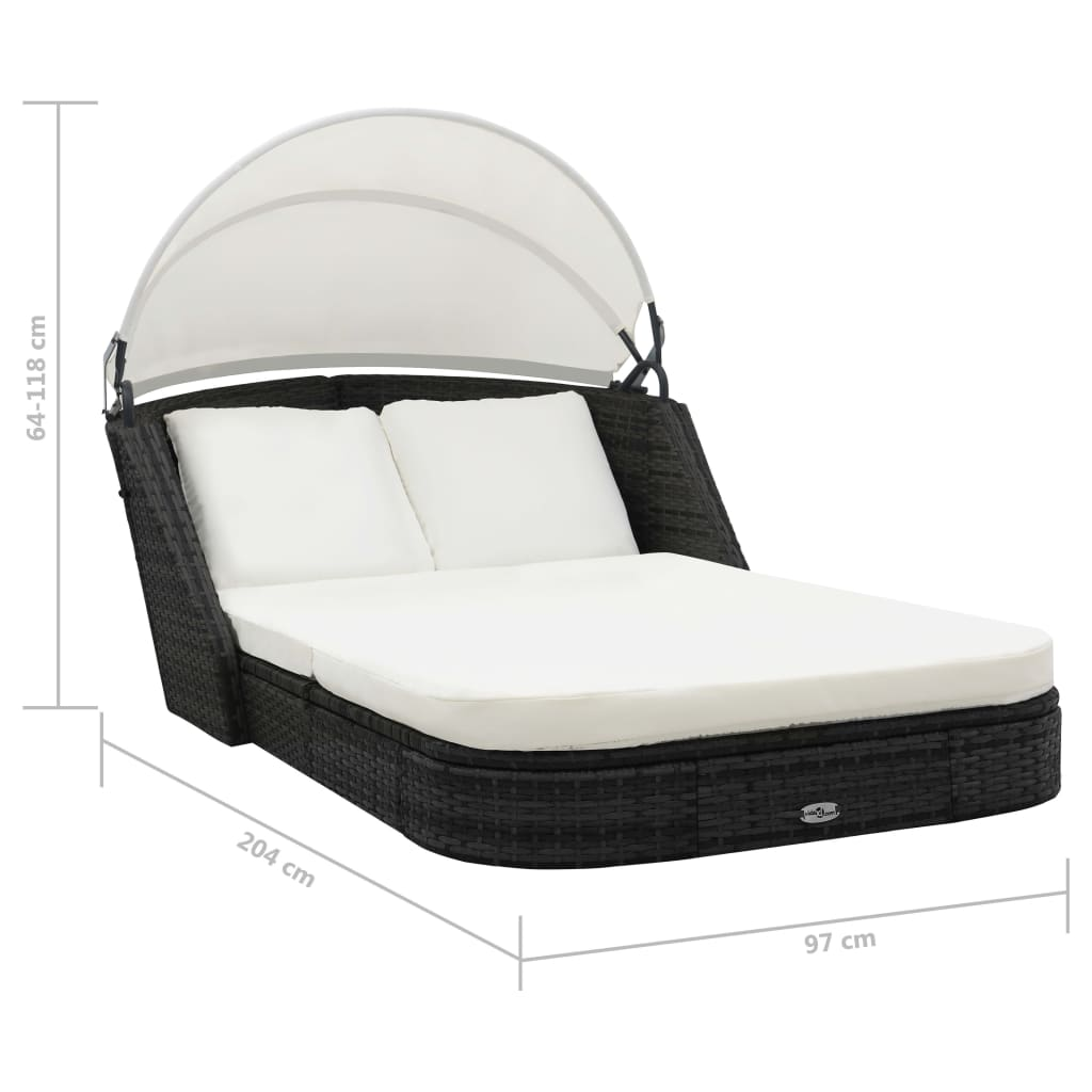 vidaxl sun lounger with canopy poly rattan black. Black Bedroom Furniture Sets. Home Design Ideas