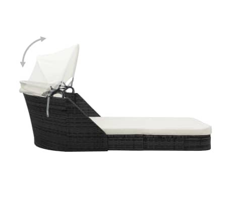 vidaxl sonnenliege mit sonnendach poly rattan schwarz im vidaxl trendshop. Black Bedroom Furniture Sets. Home Design Ideas