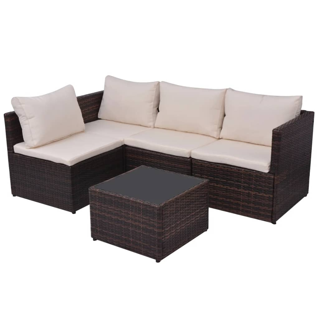 vidaxl 13 piece garden sofa set poly rattan brown. Black Bedroom Furniture Sets. Home Design Ideas