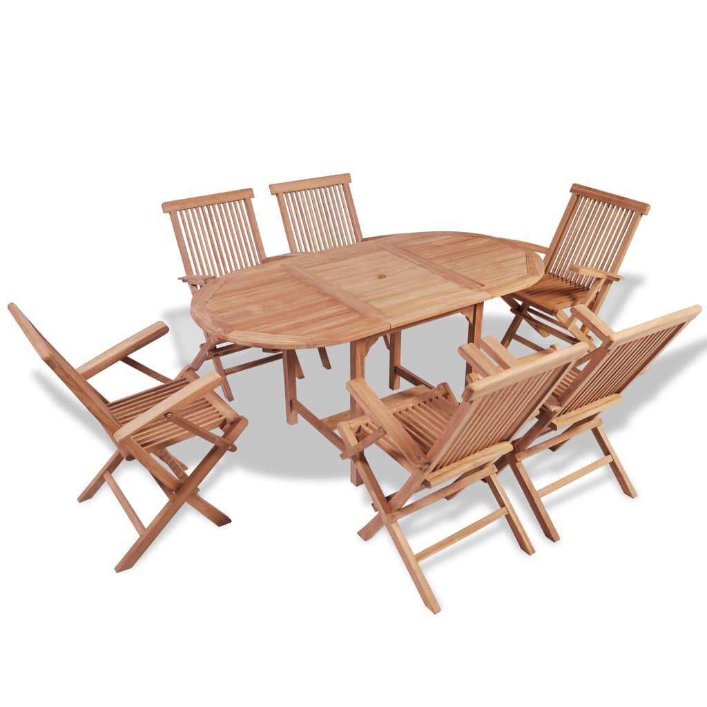 acheter vidaxl jeu de salle manger d 39 ext rieur en teck avec table extensible pas cher. Black Bedroom Furniture Sets. Home Design Ideas