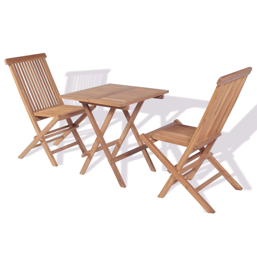 vidaxl teak 3 tlg gartenm bel set bistro set g nstig kaufen. Black Bedroom Furniture Sets. Home Design Ideas