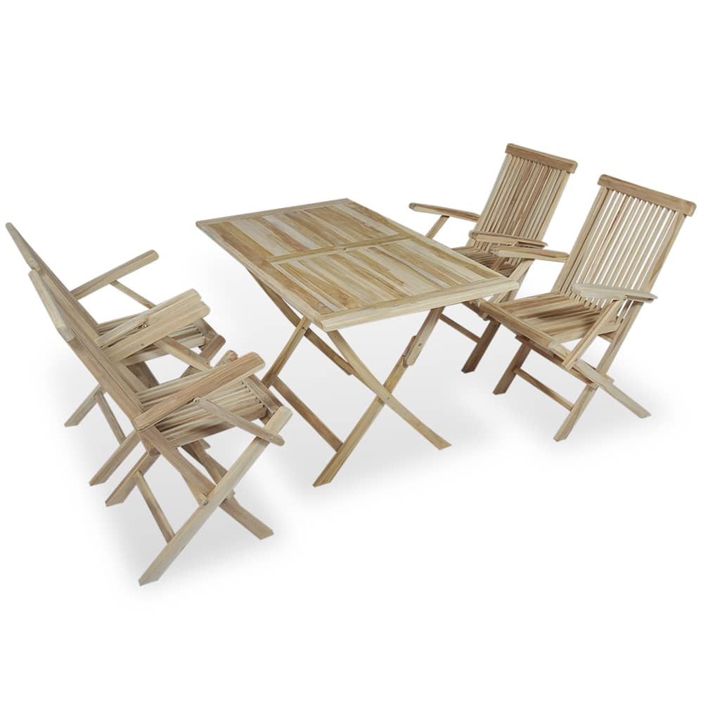Vidaxl teak five piece outdoor dining set for Table exterieur 3m
