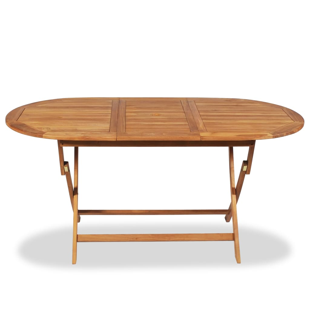 Vidaxl teak outdoor dining table 160x80x75 cm for Exterior dining table