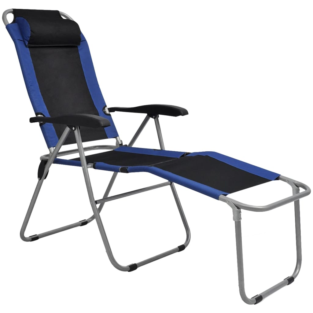Acheter vidaxl chaise inclinable de camping 2 pcs bleu et for Chaise inclinable