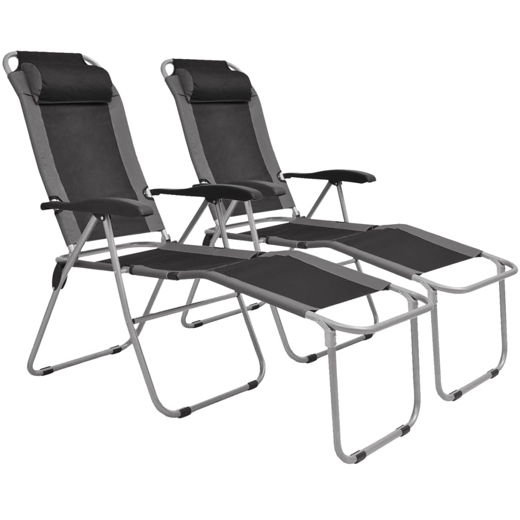 Acheter vidaxl chaise inclinable de camping 2 pcs gris et for Chaise inclinable