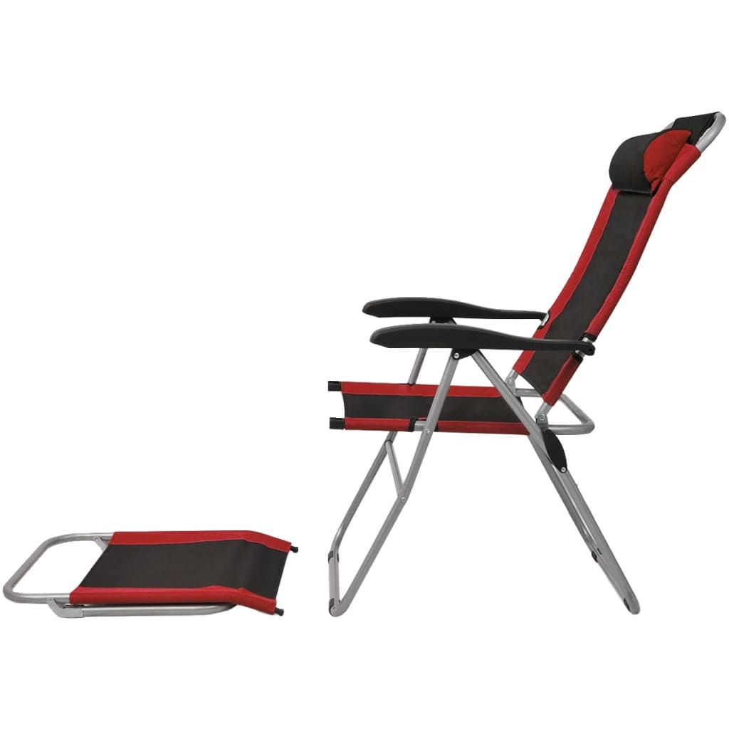acheter vidaxl chaise inclinable de camping 2 pcs rouge et noir pas cher. Black Bedroom Furniture Sets. Home Design Ideas
