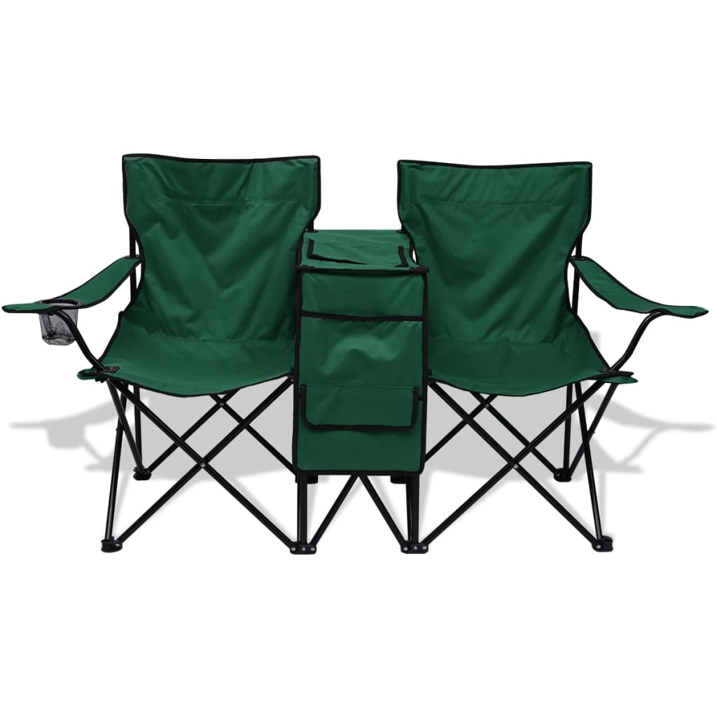 acheter vidaxl chaise double de camping 155 x 47 x 84 cm vert pas cher. Black Bedroom Furniture Sets. Home Design Ideas