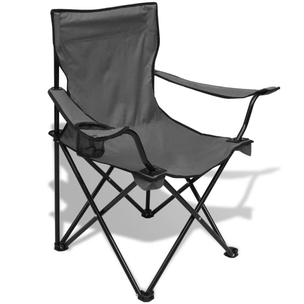 acheter vidaxl table et 2 chaises de camping gris pas cher. Black Bedroom Furniture Sets. Home Design Ideas