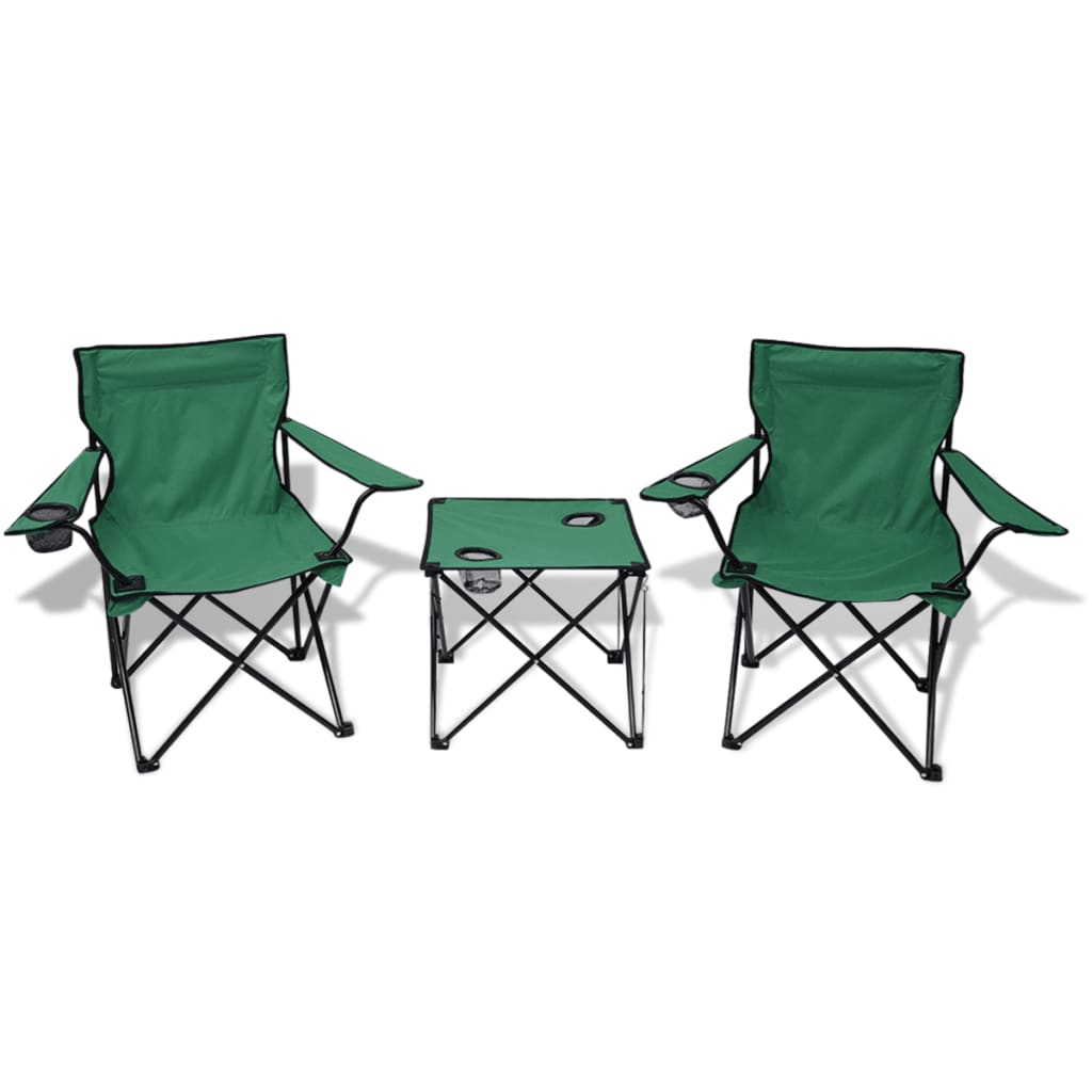 la boutique en ligne vidaxl table et 2 chaises de camping vert. Black Bedroom Furniture Sets. Home Design Ideas