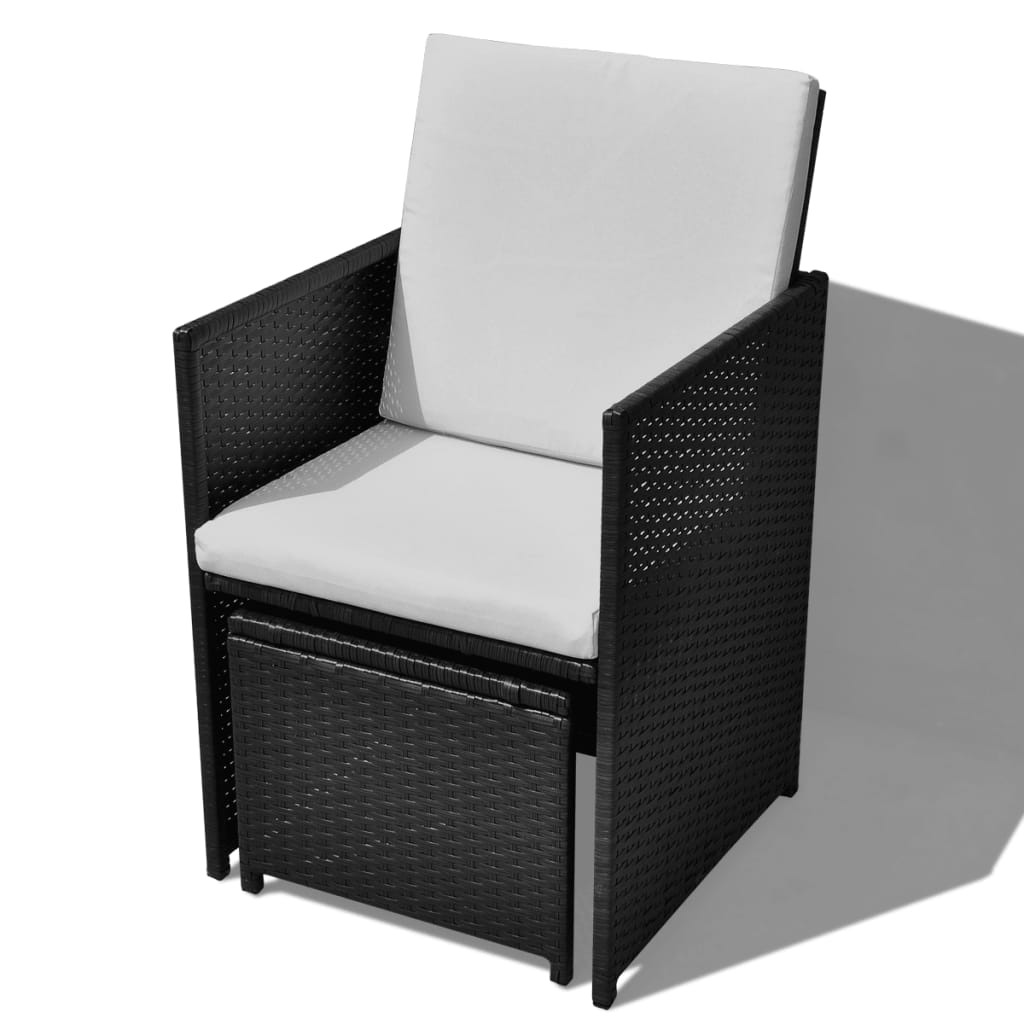 vidaxl 21 tlg garten essgruppe poly rattan schwarz. Black Bedroom Furniture Sets. Home Design Ideas