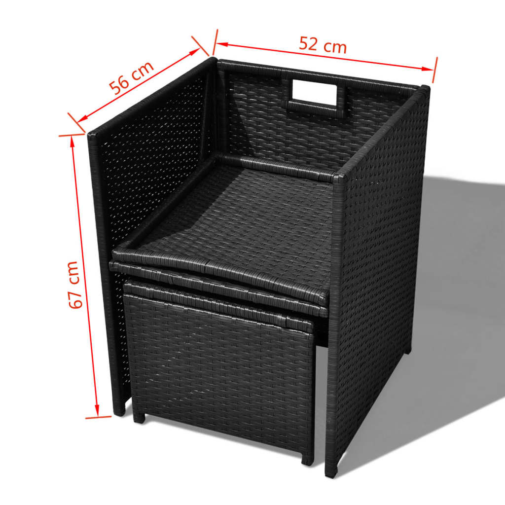 der vidaxl 21 tlg garten essgruppe poly rattan schwarz online shop. Black Bedroom Furniture Sets. Home Design Ideas