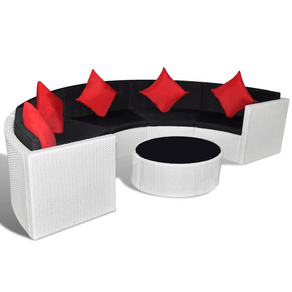 vidaxl garden lounge set half round poly rattan white. Black Bedroom Furniture Sets. Home Design Ideas