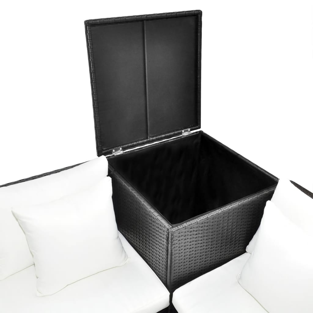 vidaxl lounge set poly rattan black. Black Bedroom Furniture Sets. Home Design Ideas