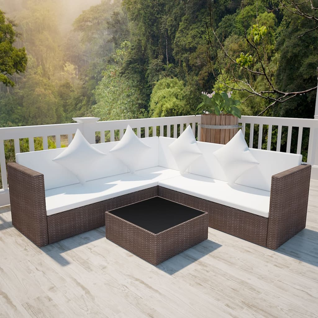 Rattan lounge set  vidaXL Lounge Set Poly Rattan Brown | vidaXL.com
