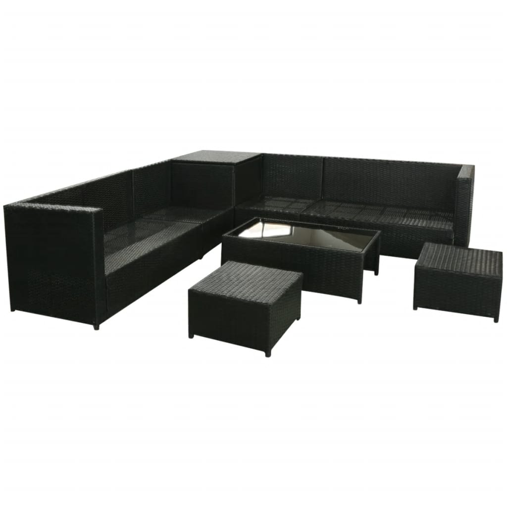 vidaxl 26 piece garden sofa set poly rattan black. Black Bedroom Furniture Sets. Home Design Ideas