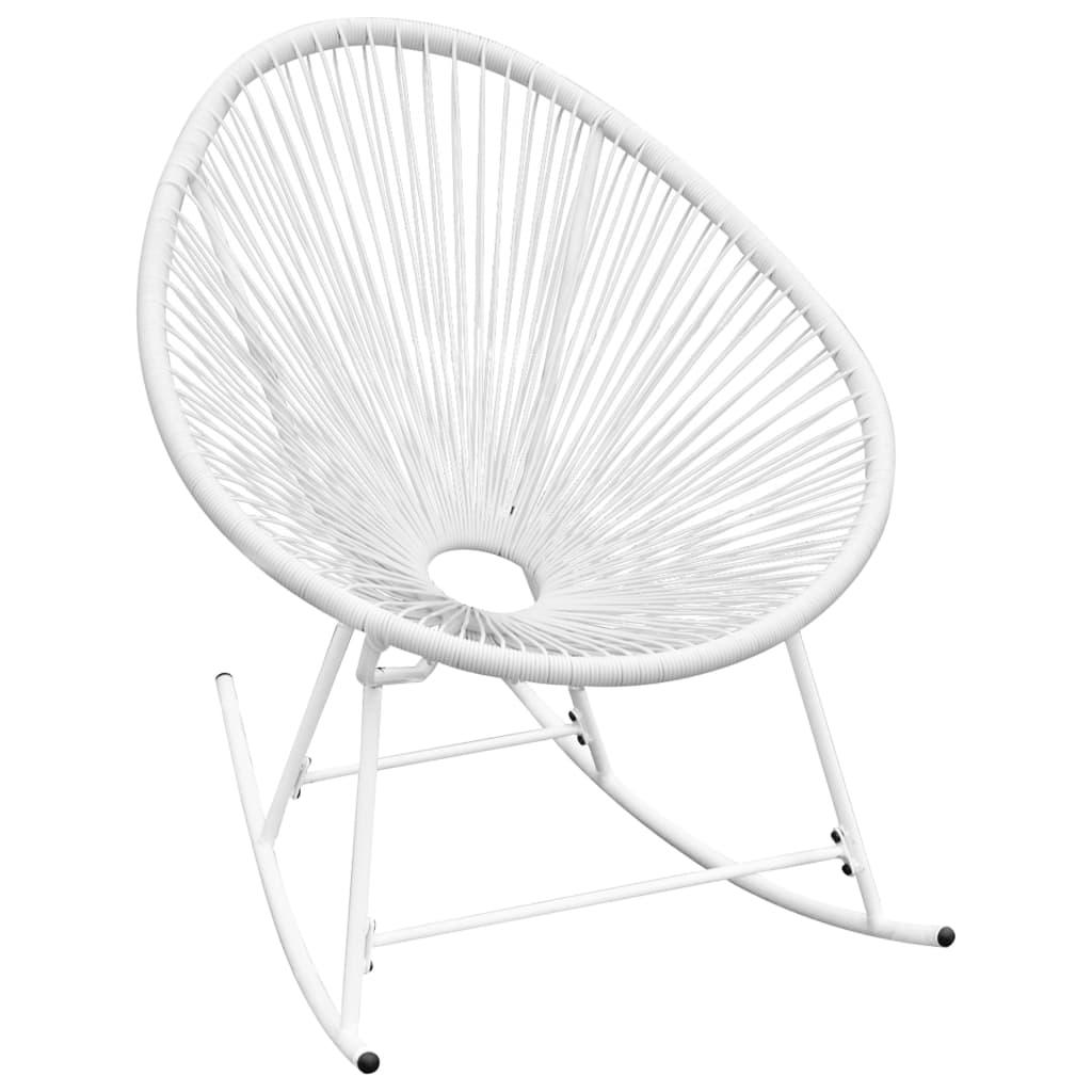 Vidaxl garden rocking chair poly rattan white for Sedia a dondolo nursery