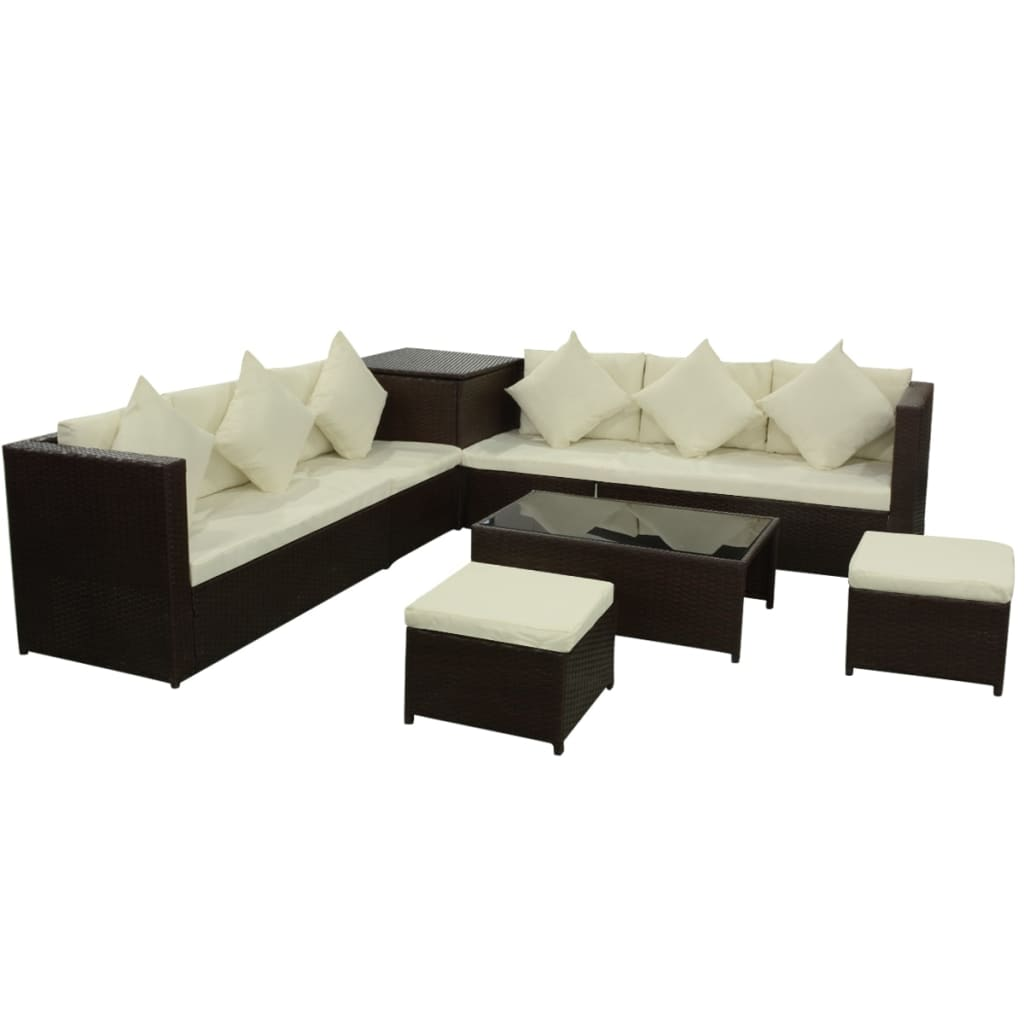 8 tlg poly rattan gartenm bel gartengarnitur gartenset sitzgruppe sofa lounge. Black Bedroom Furniture Sets. Home Design Ideas