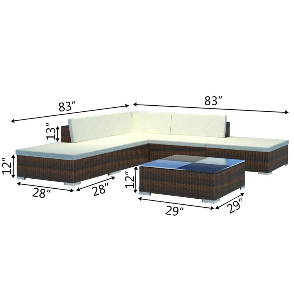 vidaxl 15 piece garden lounge set brown poly rattan. Black Bedroom Furniture Sets. Home Design Ideas