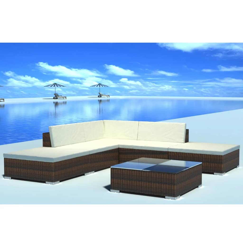 Image Is Loading VidaXL Outdoor Lounge Set Poly Rattan Wicker Brown