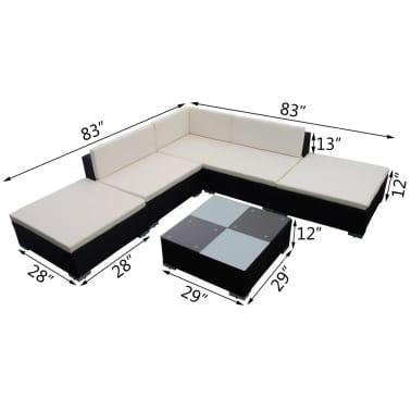 vidaXL 15 Piece Garden Lounge Set Black Poly Rattan[6/6]