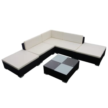 vidaXL 15 Piece Garden Lounge Set Black Poly Rattan[2/6]