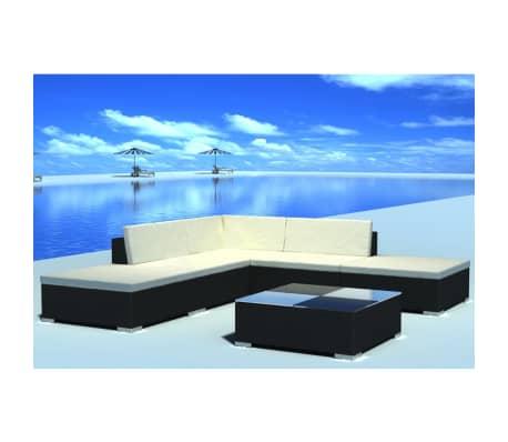vidaXL 15 Piece Garden Lounge Set Black Poly Rattan